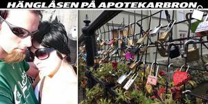 Många västeråsare har hängt upp hänglås på Apotekarbron, däribland Sofia Vesterholm Svangren och Göran Svangren.
