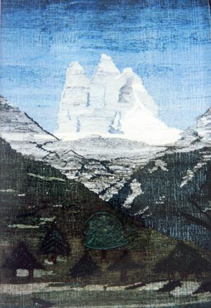 En vävnad av Marianne Mogensen där hon i det alplandslika motivet inspirerats av den tyska konstnärinnan Gabriele Münter som förutom att hon levt i samma by, Murnau i Oberbayern, också varit hennes konstnärliga förebild.