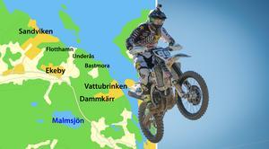 Skribenterna vill få ett stopp på illegalt motorcykelåkande i Enhörna. Grafik: Tomas Karlsson Foto: Benjamin Manser/AP Photo