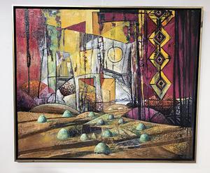 I Kent Wahlbecks senare målningar finns en lek med geometriska figur liksom ljus och skuggor som skapar ett närmast surrealistiskt landskap.