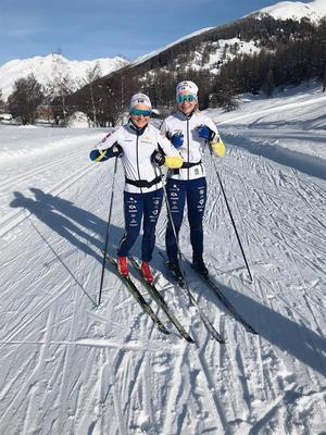 Dalaåkarna Moa Molander Kristiansen och Moa Olsson tog sig vidare till utslagsrundorna i U23-VM:s sprinttävlingar, men fick ge sig i kvartsfinal (Molander Kristiansen) respektive semifinal (Olsson). Foto: Privat