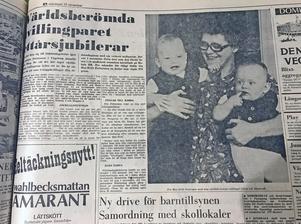 Den 24 november 1969 följde fortsättningen om det världsberömda tvillingparet Claes och Elisabeth Petersson i Vägstorp utanför Mjölby. Anledningen till uppståndelsen ett år tidigare var själva leveransen av de båda tvåäggstvillingarna. De föddes nämligen med sju veckors mellanrum! Den 1 november 1968, tre månader för tidigt, föddes lilla Elisabeth som vägde 970 gram. Den 20 november föddes sen tvillingbrorsan Claes, som vägde 2 150 gram. Mamma Maj-Britt kunde berätta att att allt gått bra, och att hennes tvillingar mådde utmärkt.