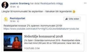 En skärmdump från Joakim Granbergs Facebooksida där han länkar till filmen som partiet själva lagt upp.