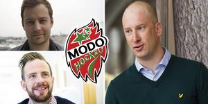 Joakim Grundberg och Pierre Hedin (vänster) har Hockeypuls tidigare listat som aktuella namn för sportchefs-tjänsten. Johan Widebro (höger) vill helst inte kommentera namn. Foto: Hockeypuls.