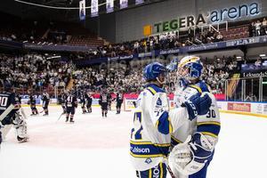 Abbott och Juvonen, värvningarna från Mora som blev poängräddare mot Linköping. Foto: Daniel Eriksson./Bildbyrån