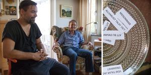 """Fredrik Samsson och Göran Sahlberg har gjort sig bekväma hemma hos Berit Carlström. I en samtalsgrupp delar de med sig av sina egna erfarenheter av ensamhet.  – Jag flyttade till Örebro för tre år sedan och fortfarande, någon gång i månaden, tänker jag """"vad hände med hela mitt liv?"""", säger Fredrik."""