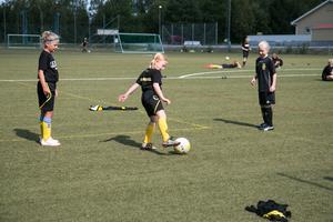 Tjejerna är mellan 6-11 år och Linda Nyberg hoppas speciellt att de yngre vill fortsätta med fotbollen.