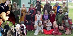 Till vänster några bilder på den prisbelönte magikern Arkadia, där han rider på sin drake Sötnos.