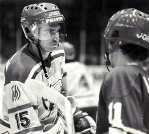 Roland Eriksson efter en VM-match med Tre Kronor 1983. Foto: Birger Persson/DD