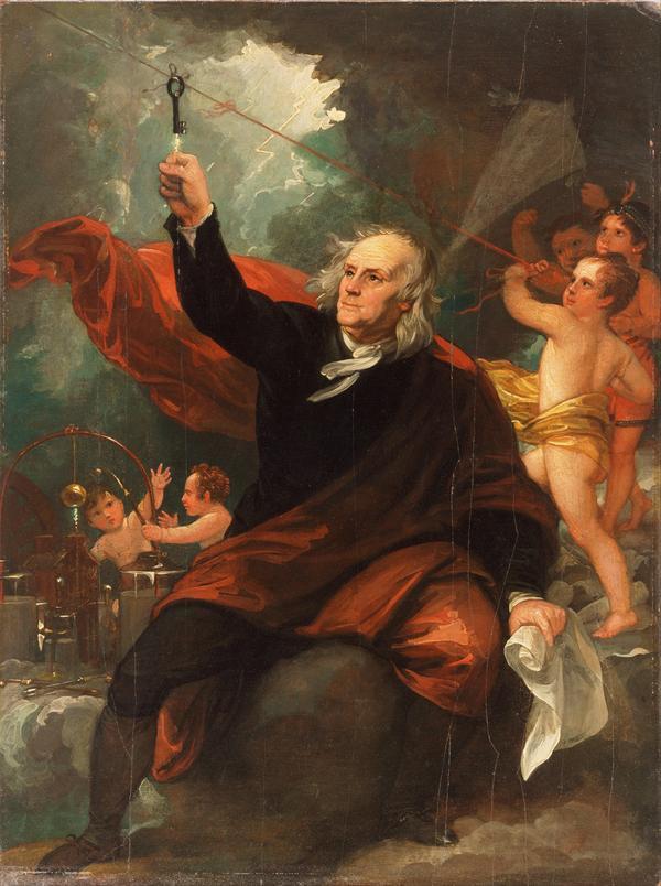 Benjamin Franklin och åskledaren. Benjamin Wests fantasifulla målning från 1816.