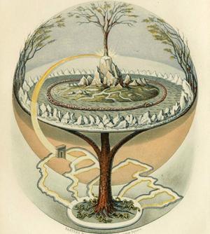 En bild över den fornnordiska mytologins  värld. Illustration av Oluf Bagge från 1847.