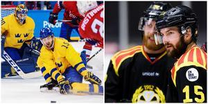 Simon Bertilsson täcker skott i OS för ett år sedan. Nu är han pånytt uttagen i Tre Kronor – och han kan också bli kvar i Brynäs trots flyttrykten. Bilder: Bildbyrån