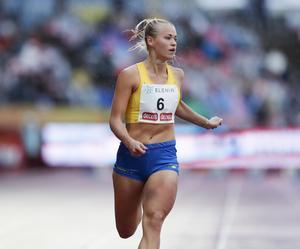 Fanny Runheim vann 100 meter på Finnkampen 2018, bara 19 år gammal, efter att veckan innan ha vunnit SM-guld. I Tammerfors noterade hon också sitt personliga rekord på 11,66, bra fem hundradelar från Elin Östlunds distriktsrekord. Foto: Christine Olsson/TT