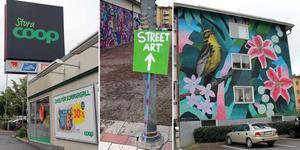 De stora reklam- och butiksskyltarna, som i mycket präglar vägen genom Ljusdal, har fått konkurrens av färgstark konst från hela världen.