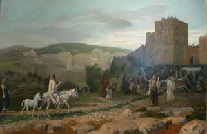 Jesus gör spektakulär entré i Jerusalem när han rider in på en åsna. Målning av Jean-Léon Gérôme från 1897.
