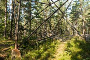 Stegen som tidigare lett upp till toppen ligger nu under tornet.