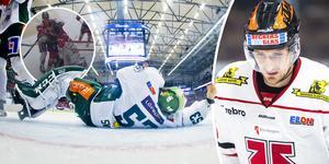 """Dagen efter den omtalade situationen vidhåller Örebro kritiken mot Färjestadsmålvakten Markus Svensson och menar på att det var en filmning. """"Han spelar som han blivit skjuten"""", säger Anton Hedman. Bilder: Bildbyrån"""