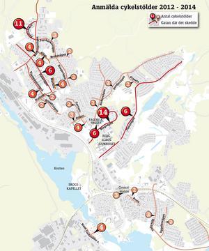 Anmälda cykelstölder i Fagersta tätort från januari 2012 till och med mars 2014. Gator där bara en anmälan gjorts har inte markerats. Nummermarkeringarna med pilar visar inte exakt var på gatorna som stölderna har skett. Totalt har 119 stölder skett i Fagersta.