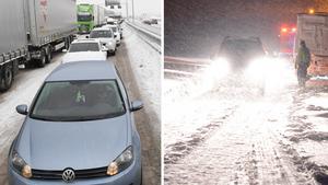 Olyckor och långa bilköer är vanligast under vintern.Bild: Fredrik Sandberg/TT, Johan Nilsson/TT.