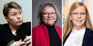 Barbro Larsson (C), Regionråd, Denise Norström (S), Region Västmanland, regionstyrelsens ordförande och Helena Hagberg (L), Regionråd.
