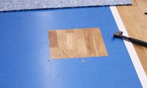Här är en av de punkter i golvet som har åtgärdats.