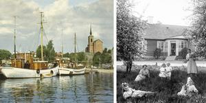 Somrar från förr. Till vänster: Vy mot fiskebryggan 1973, foto av Lennart Hollstrand. Höger: Framför Anton Styréns Viktualieaffär, Järnvägsgatan 2. Foto: Atelier Ekegren/Nynäshamns bildarkiv