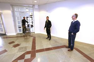Daniel Brunnberg , Kristoffer Granath och Pär Carlsson i Valvets lounge.