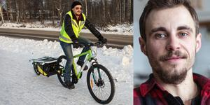 Lauris Tumena är en av landets få städbolag med helt fossilfria transporter. I ur och skur tar han sig fram på cykel, ett transportsätt som han hoppas ger fördelar hos miljömedvetna kunder.