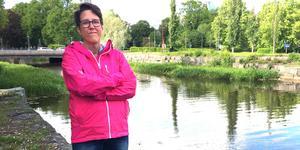 Tillbaka på platsen. Här räddade Helena Löw en berusad man från att drunkna i Svartån.