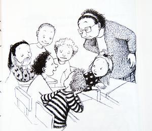 Från Dunnes klassrum. Teckning: Eva Eriksson