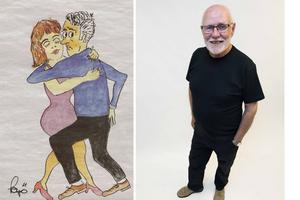 Kurt-Göran Öberg bredvid sin egen teckning av