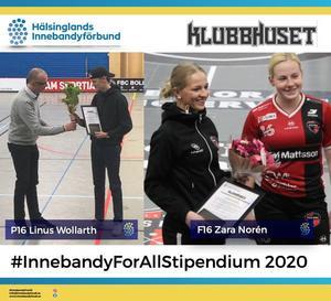Utdelningen till Linus Wollarth genomfördes i Bollnäs 18/9 i samband med DM-finalen mellan FBC Bollnäs och Håsta. Prisutdelare var ordförande Hans Löfstrand. I fredags, 23/10, fick Zara Norén sitt pris av Elsa Frisk i samband med JAS matchen mellan KAIS Mora och IBF Falun U. Bild: Håkan Wollarth och Jörgen Frisk