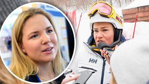 Anja Pärson tröstade Anna Swenn-Larsson efter den snöpliga pallmissen. Carl Sandin/Joel Marklund (Bildbyrån)