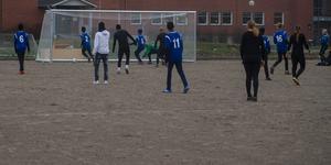 Här lyckas lärarna göra mål. Målvakten Anton Persson fick inte tag på bollen.