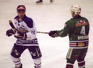 Stefan Hellkvist och Andreas Byström, Rögle, i Superallsvenskan februari 2002.