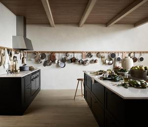 Det nya är öppna kök med bänkar men utan överskåp. Här ett så kallat shakerkök från Marbodal.