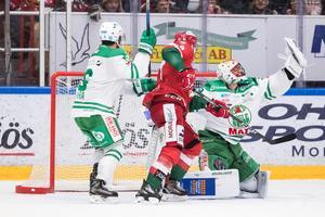 Båda målvakterna var bra i matchen. Här är det Rögles Justin Pogge som plockar en puck. Foto: Daniel Eriksson/Bildbyrån