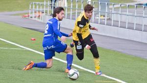 Rijad Babovic gjorde Arbogas två första mål mot Adolfsberg. Trean nickades in av Gustav Gustafsson. Foto: Arkiv