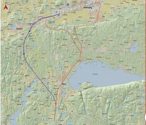 Planeringen för sista etappen på dubbelspårsutbyggnaden, Hallsberg-Stenkumla, har pågått i flera år. Runt 4-5 olika sträckningar har utretts. Den blå linjen på kartan visar alternativet som Trafikverket nu går på, med bland annat en två kilometer lång tunnel vid Östansjö. Karta: Trafikverket