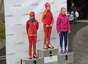 Svea Eriksson och Alva Widmark tog en dubbelseger i yngsta tjejklassen. Foto:Håkan Degselius.