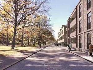 Vy västerut med Skytteparken till vänster och det nya vårdboendet till höger. Bildkälla: Marge Arkitekter