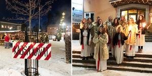 Lucia med följe sjöng på julmarknaden Kajsa Kavat i Ramsele.
