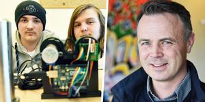 Två av eleverna på plats var Rasmus Jugen Forsblom och Axel Eriksson som arbetat med Boggs Automation. Till höger ser man Anders Sandberg som är projektledare för Morakontraktet.
