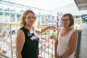 Till vänster Åsa Johannesson som är tillförordnad verksamhetschef för vård- och omsorgsförvaltningen i Ragunda kommun, och Anna-Lena Fahlén som är enhetschef för Nyviksvägen 10 på övre planet i uterummet där det på onsdagseftermiddagen var 38 grader varmt.