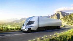 En färdig prototyp av Teslas helt eldrivna lastbil lanserades i november. Den färdiga lastbilen väntas inte komma ut på marknaden förrän under 2019. Foto: Tesla via AP/TT