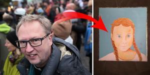 Foto: Tommy Söderlund/TT och Illustration Mats Hermansson Här är Örebroprästen som tolkar Greta Thunberg - som helgon.