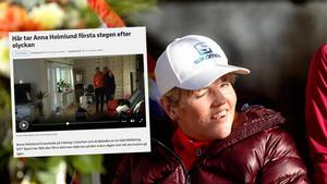 Anna Holmlund tog sina första steg efter olyckan i Innichen, vilket SVT kunde visa genom exklusiva bilder. Foto: TT/Skärmdump (SVT).