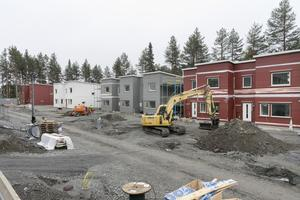 """Det grävs, byggs och schaktas för fullt i bostadsområdet Odenvallen. """"De som kör grävarna är så försiktiga och fina, helt fantastiskt"""", säger Janita Runudde."""