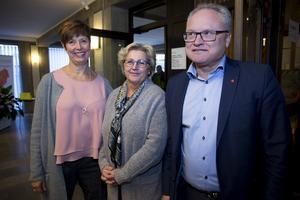 Regionens nya styret från vänster Ingeborg Wiksten (L), Lena Asplund (M) och Glenn Nordlund (S)