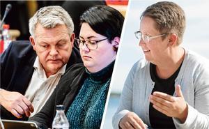 Frågan till Socialdemokraternas Per Nylén om asylsökande och flyktingar är undertecknad av de tre moderaterna Lars Näslund, tidigare gruppledare i kommunfullmäktige, Linnéa Berggren, politisk sekreterare och Annica Jonsson, Moderaternas nuvarande gruppledare.  Foto: Robbin Norgren och Erik Mårtensson